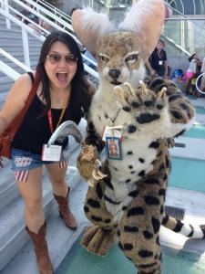 Jessica Gao, funny writer lady extraordinaire, at San Diego Comic Con.
