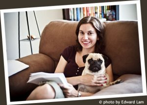 Kristen Weber with Sampson the pug