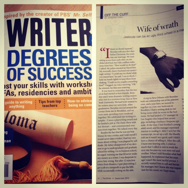 My personal essay in the September 2014 issue of The Writer magazine. Yeah!
